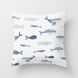 Watercolor whales Throw Pillow
