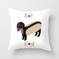 daschund Throw Pillows featuring Hot Dog! by Caroline W Illustration