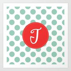 Monogram Initial T Polka Dot Art Print
