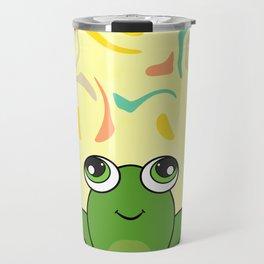 Cute frog looking up Travel Mug