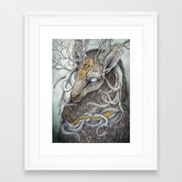deer Framed Art Prints featuring In Memory, as a print by Caitlin Hackett