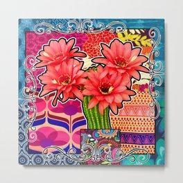 Pink Cactus Floral Vibes Metal Print