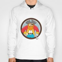 captain hook Hoodies featuring Captain Hook Pirate Circle Cartoon by patrimonio