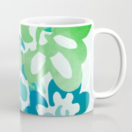 Greenery Abstract - Blue and Green Floral Coffee Mug