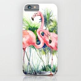 Flamingo Flamingos and Papyrus, flamingo lover pink green art iPhone Case