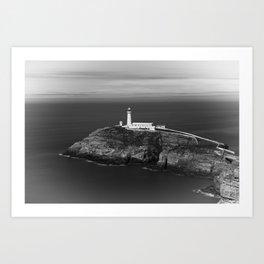 South Stack Lighthouse - Mono Art Print