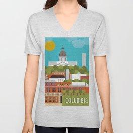 Columbia, South Carolina - Skyline Illustration by Loose Petals Unisex V-Neck