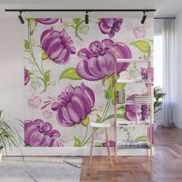 Purple Floral Wallpaper Abstract Design Wall Mural