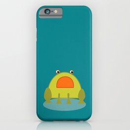 cutte little green frog drawing iPhone Case