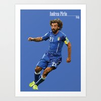 pirlo Art Prints featuring World Cup - Italy - Andrea Pirlo by DanielHonick