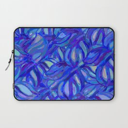 Abstract flowers watercolor pattern with blue, azure and cobalt blue colors Laptop Sleeve