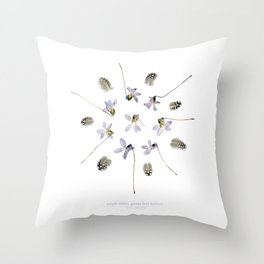 wildflower mandala... purple violets, guinea fowl feathers Throw Pillow