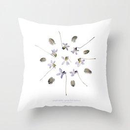 wildflower mandala... purple violets, guinea fowl feathers Throw Pillow