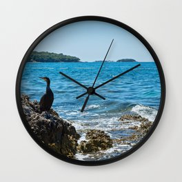 Cormorant on the rocky beach in Istria, Croatian coast Wall Clock