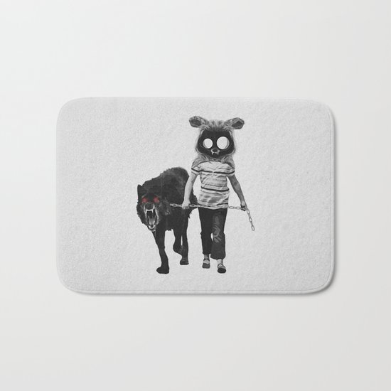 Out for a walk (black and white) Bath Mat