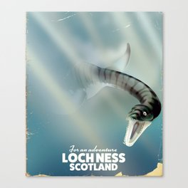 Loch Ness Scotland monster vintage travel poster Canvas Print