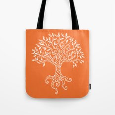Tree of Life Orange Tote Bag