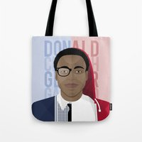 childish gambino Tote Bags featuring Donald Glover x Childish Gambino by Mathieu Duparcq