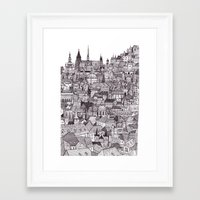 prague Framed Art Prints featuring Prague by Justine Lecouffe