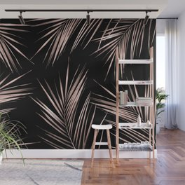 Rosegold Palm Tree Leaves on Midnight Black Wall Mural