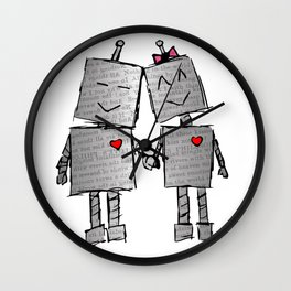 Lovebots Doodle Wall Clock