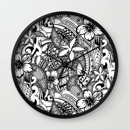 Hawaiian Polynesian Trbal Tatoo Print Wall Clock