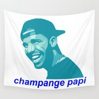 champagne Wall Tapestries featuring champagne papi by Grace Teaney Art