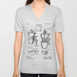 Coffee Mill Patent - Coffee Shop Art - Black And White Unisex V-Neck