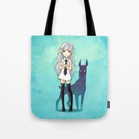 doberman Tote Bags featuring Doberman by Freeminds