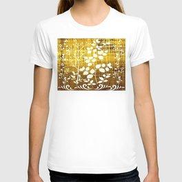 White leaves decor on golden background T-shirt