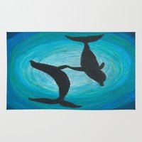 dolphins Area & Throw Rugs featuring Dolphins by MandiMccl
