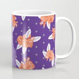 Floral clemson sports college football university varsity team alumni fan gifts purple and orange Coffee Mug