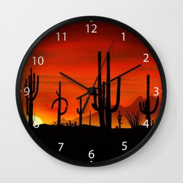 Illustration of cactus tree when the sunset Wall Clock