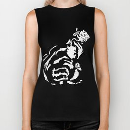 Black And White Seated Tabby Cat Biker Tank