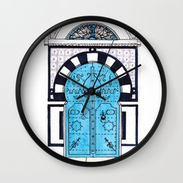 Blue Door in Sidi Bou Said with tiles Wall Clock