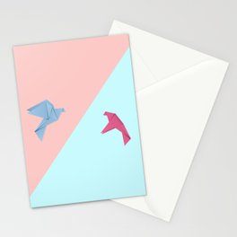 Paper pigeons blue and pink Stationery Cards