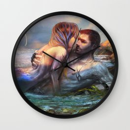 Take my breath away - Mermaid in love with soldier on the beach Wall Clock