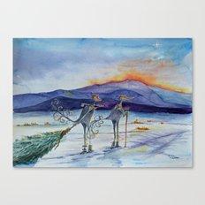 Salsa Birds getting their Christmas Tree Canvas Print