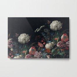 Dutch dark Dramatic Floral arrangement Metal Print