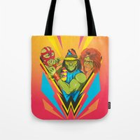 wrestling Tote Bags featuring Classic Wrestling by RJ Artworks