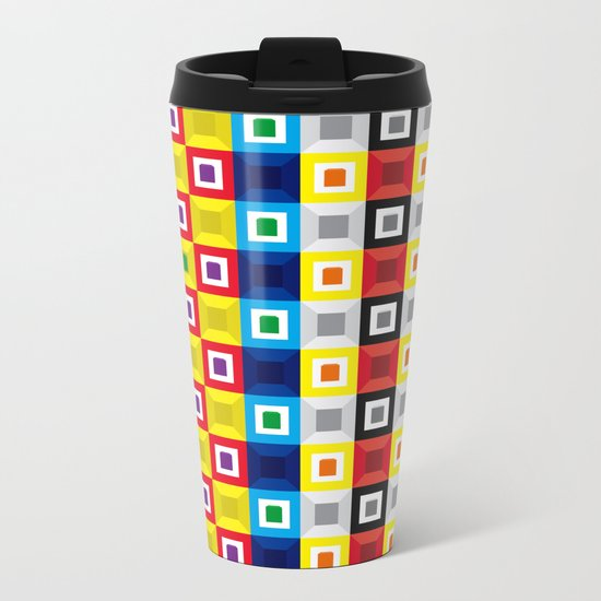 Squares Pattern Metal Travel Mug