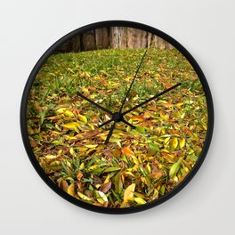 Winter Leafs , Railroad Wood Wall Clock