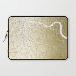Gold on White London Street Map II Laptop Sleeve