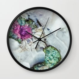 Colorful watermelon tourmaline crystal, macro #society6 Wall Clock