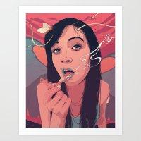 queen Art Prints featuring Moth Queen by Conrado Salinas
