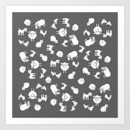 The Little Farm Animals, white on grey Art Print