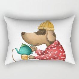 Sleepy Doggie Illustration Rectangular Pillow