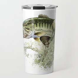 Bigmouth Bass Leaping to Freedom Travel Mug