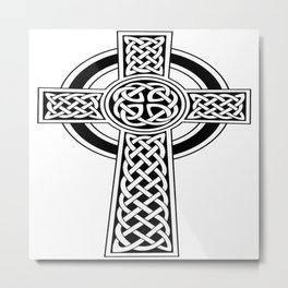 St Patrick's Day Celtic Cross Black and White Metal Print