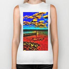 Colorful Sunset on Beachfront Biker Tank